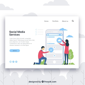 Landing page template with social media services concept