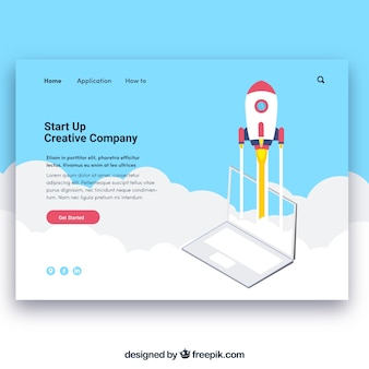Landing page template with start up concept