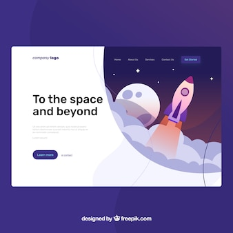 Landing page template with startup concept
