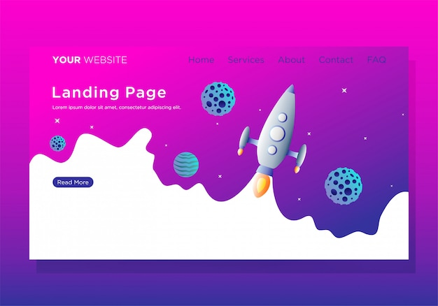 Landing page template with startup
