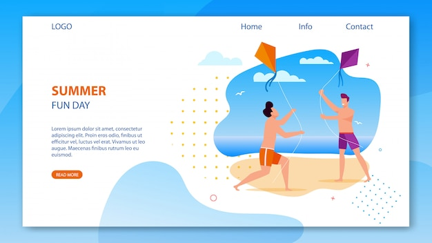 Landing page template with summer fun day on beach promotion. two cartoon happy guys run and play with kite. happy summertime