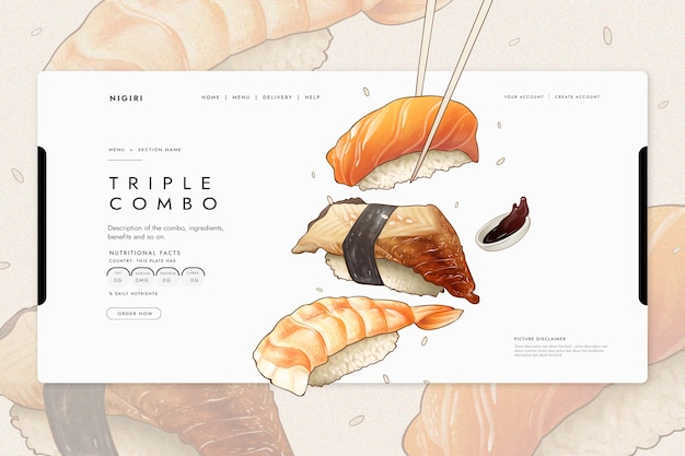 Landing page template with sushi for restaurant