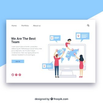 Landing page template with team concept