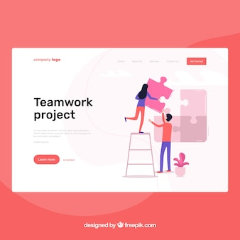 Landing page template with teamwork concept