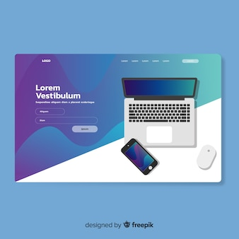 Landing page template with technology device