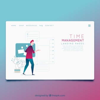 Landing page template with time management concept