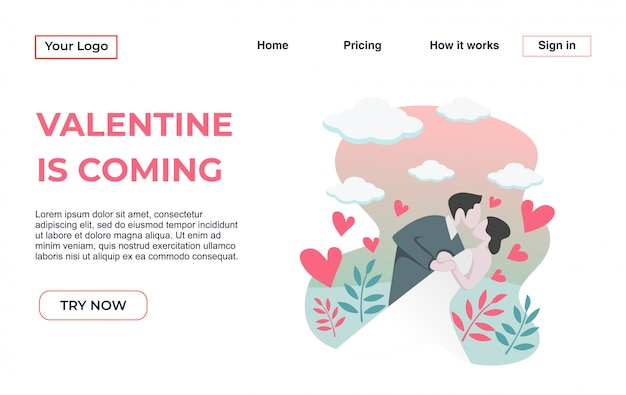 Landing page template with valentine's day theme