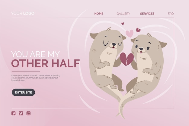 Landing page template with valentines day