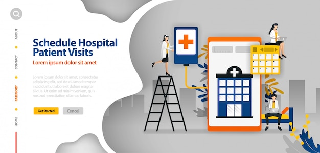 Landing page template with vector illustration of hospital patient visits schedule, hospital scheduling, hospital planning application
