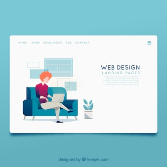 Landing page template with web design concept