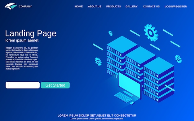 Landing page template with web server vector concept illustration