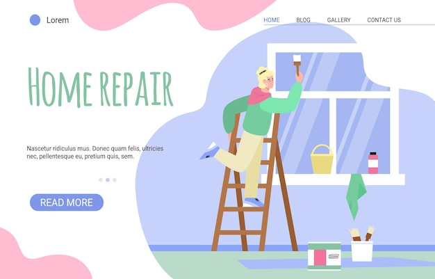 屋内でペイント壁を実行する女性画家とのランディングページテンプレート