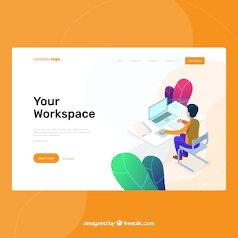 Landing page template with workspace concept