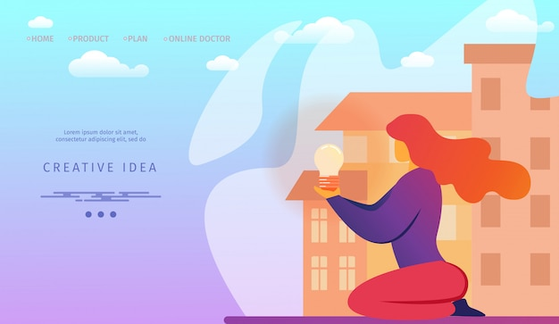 Landing page template with young woman with illuminated light bulb in hands on cityscape