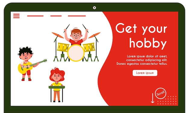 Landing page template withdisabled kids at music band. drummer boy in wheelchair. guitarist guy with prosthetic arm. girl keyboard player