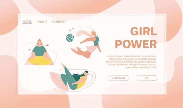 ランディングページテンプレートwithgirlパワーコンセプト。女性は三角形のフレームで瞑想し、丸い形で飛んで、巨大なお茶やコーヒーカップのラインのシルエットに座っています