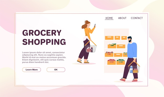 Landing page template withgrocery shopping concept. men and women with baskets walking near shelves with vegetables at supermarket