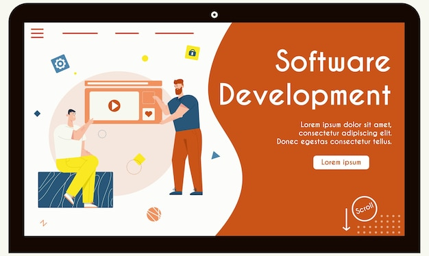 Шаблон целевой страницы с концепцией развития программного обеспечения. мужчины указывают на видеоплеер шаблона веб-страницы, обсуждают рабочие задачи, рабочий процесс