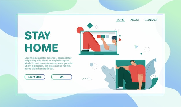 Landing page template withstay home concept. smiling man lying inside laptop screen, fills rectangle form