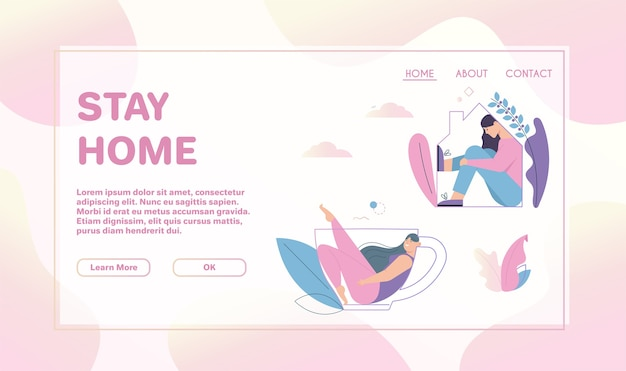 Landing page template withstay home concept. smiling woman fills at home line silhouette, sitting in huge tea or coffee cup line silhouette