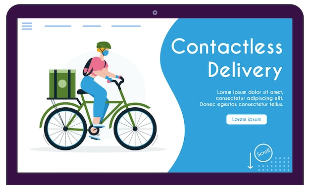 Landing page template withwoman courier with package on bicycle. young girl in protective mask and gloves, coronavirus epidemic