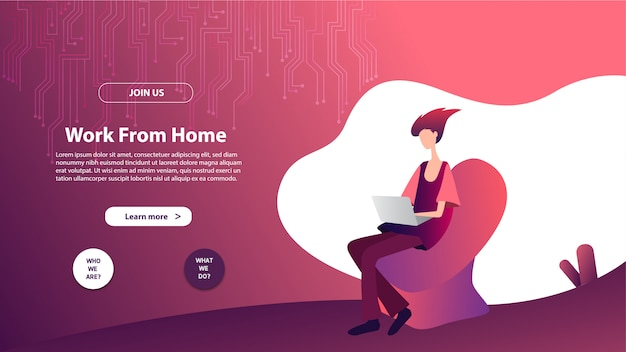 Landing page template of work from home. modern flat design concept of web page design for website and mobile website.
