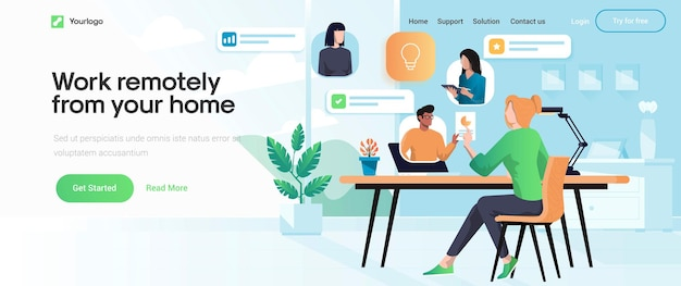 Landing page template of work remotely from your home