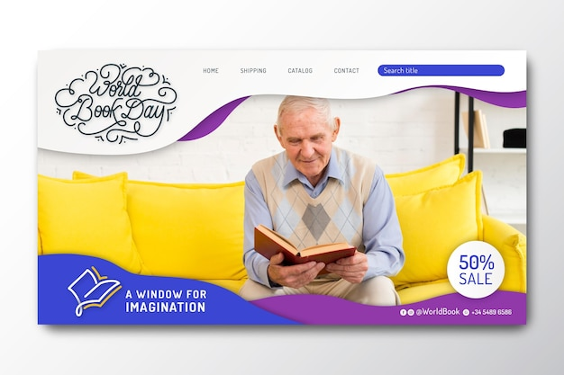 Landing page template for world book day celebration