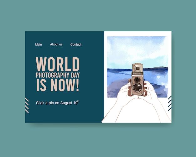 Modello di pagina di destinazione per la giornata mondiale della fotografia