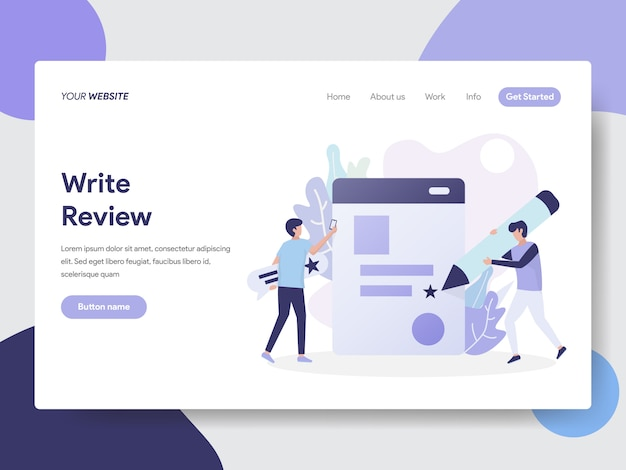 Landing page template of write review illustration concept