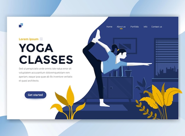 Landing page template of yoga classes