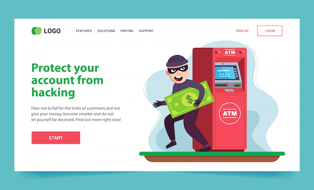 Landing page theft of money from an atm. criminal with a bill.
