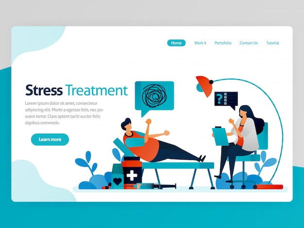 Landing page.  therapy for crazy people. psychology counseling doctor. solve life problems. mental healing. vector cartoon for website homepage header landing page page template apps