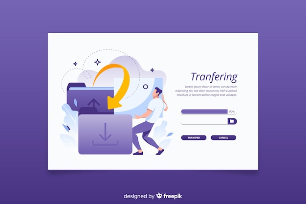 Landing page transfer files concept
