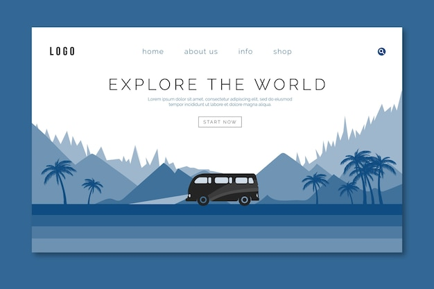 Landing page travel template on classic blue color