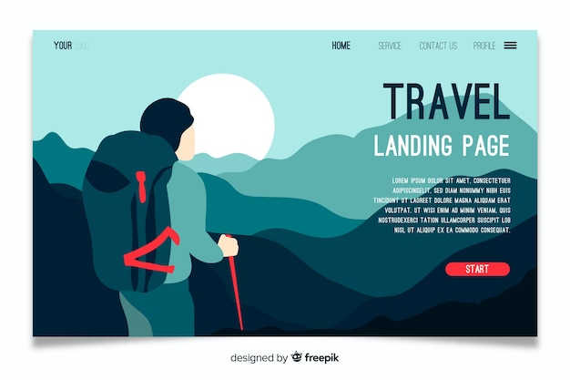 Landing page travel template