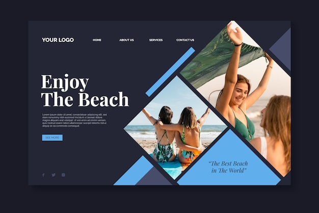 Landing page travel with image
