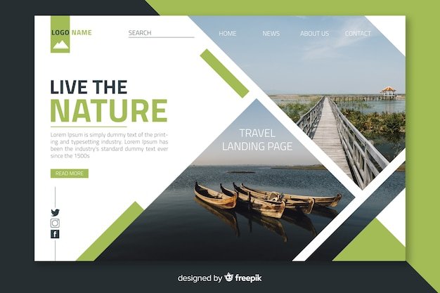 Landing page travel with photo