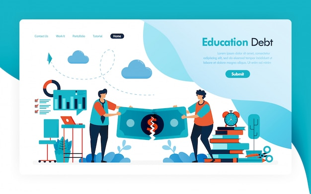 Landing page for tuition fees, education debt, scholarship loan, torn of money, budget for learning and university, financial donation and charity for education.