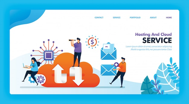 Landing page vector design of hosting and cloud.