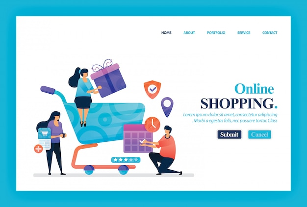 Landing page vector design of online shopping