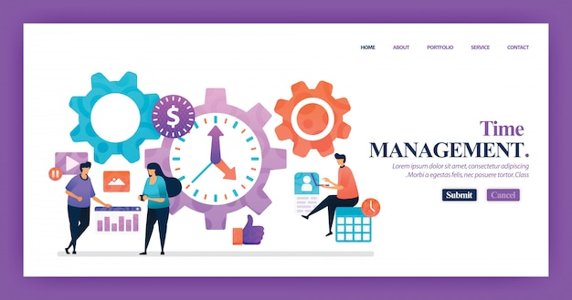 Landing page vector design of time management