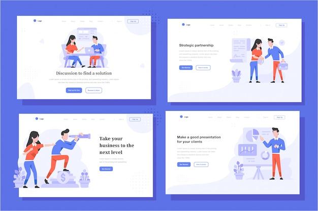 Целевая страница векторные иллюстрации плоский стиль дизайна, мужчина и женщина обсуждают встречу, соглашение о сделке, видение видения компании, презентация