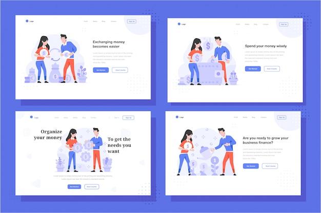 Целевая страница векторные иллюстрации плоский стиль дизайна, мужчина и женщина делают смену, доллар в евро, экономия денег на кошельке, стратегия установки денег, рост денег