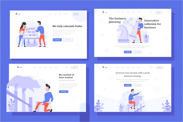Landing page vector illustration flat design style, man and woman doing calculation with abacus, chess strategy, bear market, bull trend, increase, decrease