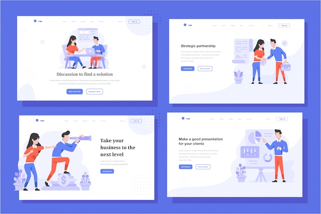 Landing page vector illustration flat design style, man and woman doing discussion of meeting, deal agreement, seeing company vision, presentation