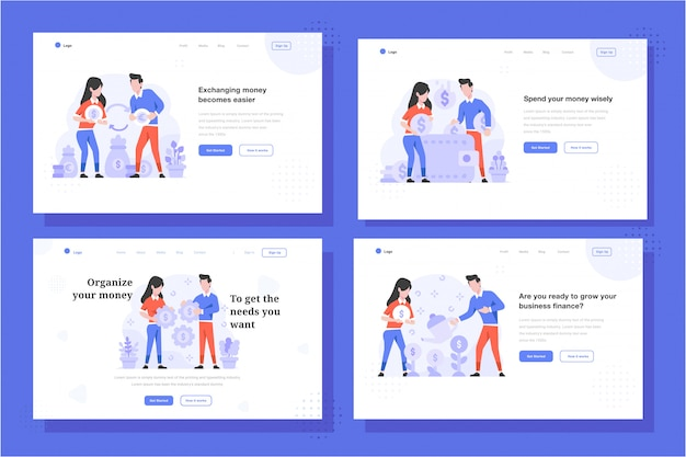 Landing page vector illustration flat design style, man and woman doing money changer, dollar to euro, saving money on wallet, money setting strategy, money growth