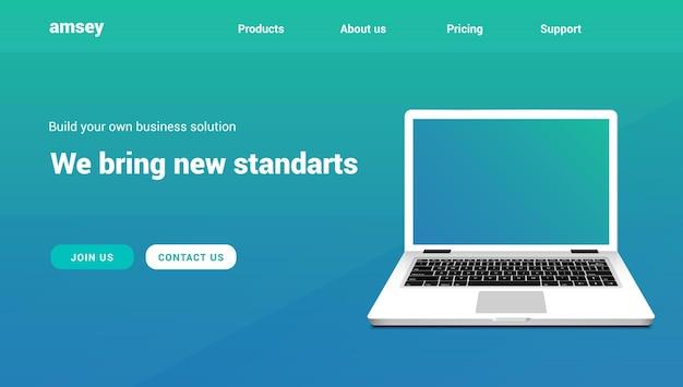 ランディングページベクトルラップトップのウェブサイト。 webデザインのランディングページアプリテンプレート。