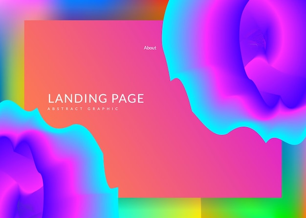 Landing page. vivid gradient mesh. geometric interface, screen frame. holographic 3d backdrop with modern trendy blend. landing page with liquid dynamic elements and fluid shapes.