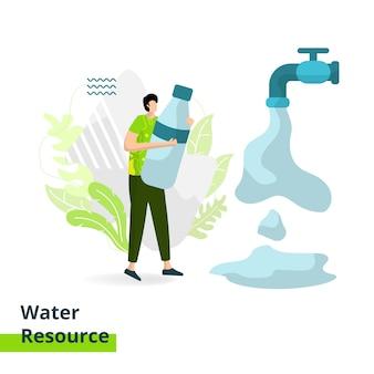Landing page water resource, концепция мужчин, несущих бутылки с минеральной водой